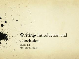 Writing-  Introduction and Conclusion