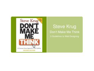 Steve Krug Don't Make Me Think