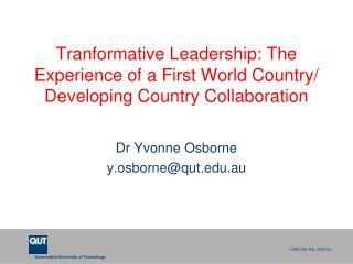 Dr Yvonne Osborne y.osborne@qut.au