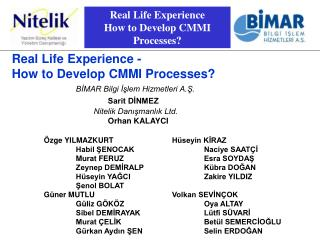 Real Life Experience How to Develop CMMI Processes