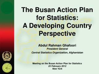 The Busan Action Plan for Statistics:  A Developing Country Perspective Abdul Rahman Ghafoori