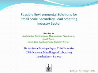 Feasible Environmental Solutions for Small Scale Secondary Lead Smelting  Industry Sector