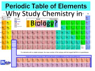 Why Study Chemistry in Biology?