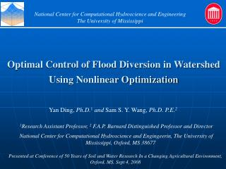 Optimal Control of Flood Diversion in Watershed Using Nonlinear Optimization