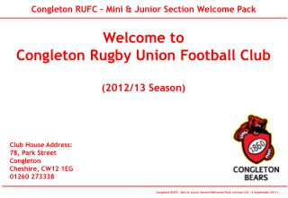 Welcome to  Congleton Rugby Union Football Club (2012/13 Season)