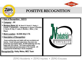 Date of Recognition:  10/3/13 Company :  JVI