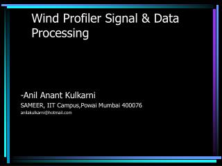 Wind Profiler Signal & Data Processing