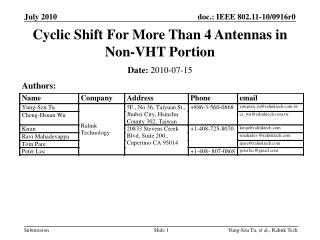 Cyclic Shift For More Than 4 Antennas in Non-VHT Portion
