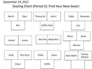 Seating Chart (Period 3): Find Your New Seats!