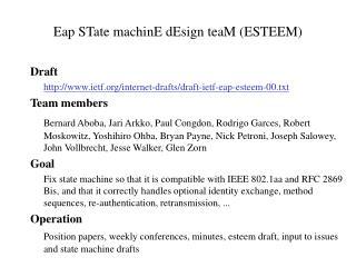 Eap STate machinE dEsign teaM (ESTEEM)