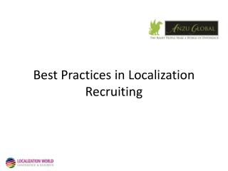 Best Practices in Localization Recruiting