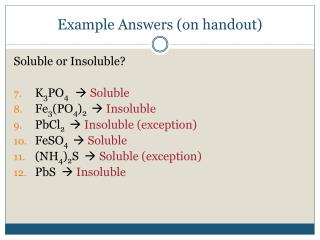 Example Answers (on handout)