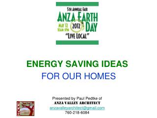 ENERGY SAVING IDEAS FOR OUR HOMES
