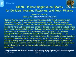 MANX- Toward Bright Muon Beams  for Colliders, Neutrino Factories, and Muon Physics