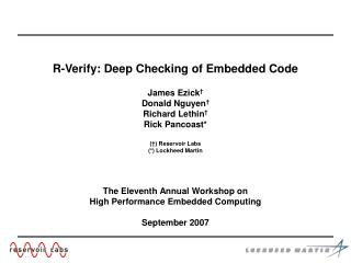 R-Verify: Deep Checking of Embedded Code