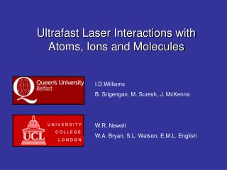 Ultrafast Laser Interactions with Atoms, Ions and Molecules