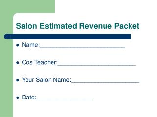 Salon Estimated Revenue Packet