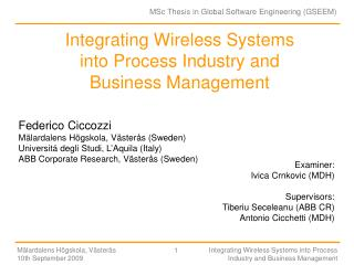 Integrating  Wireless Systems  into  Process Industry and  Business Management