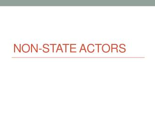 Non-State Actors
