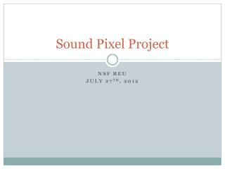 Sound Pixel Project