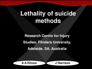 Lethality of suicide methods