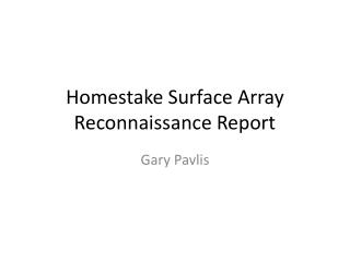 Homestake  Surface Array Reconnaissance Report