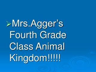 Mrs.Agger's Fourth Grade Class Animal Kingdom!!!!!