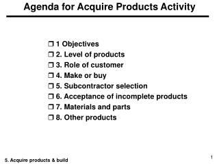 Agenda for Acquire Products Activity