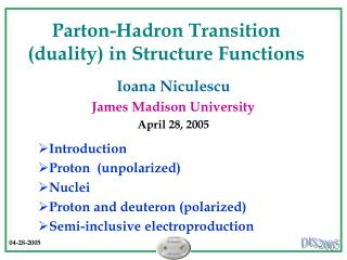 Parton-Hadron Transition (duality) in Structure Functions