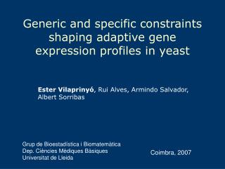 Generic and specific constraints shaping adaptive gene expression profiles in yeast