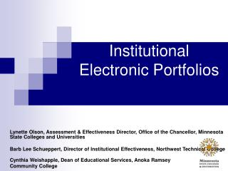 Institutional Electronic Portfolios