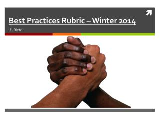 Best Practices  Rubric – Winter 2014