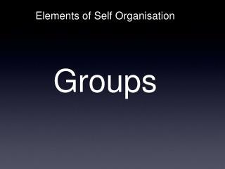 Elements of Self Organisation