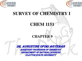 SURVEY OF CHEMISTRY I  CHEM 1151 CHAPTER 9