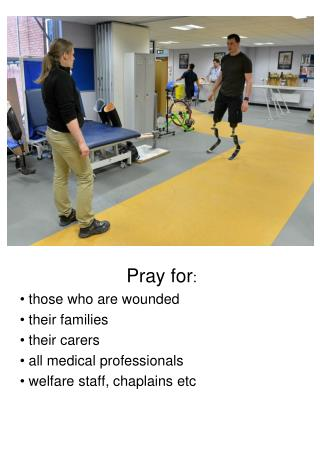 Pray for :  those who are wounded  their families  their carers  all medical professionals