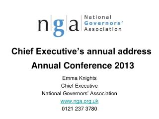Chief Executive's annual address  Annual Conference 2013
