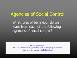 Agencies of Social Control