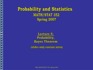 UNR, MATH/STAT 352, Spring 2007
