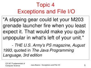 Topic 4  Exceptions and File I/O