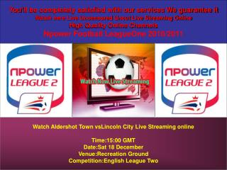 Watch Aldershot Town vsLincoln City Live Stream Online TV