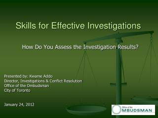 Skills for Effective Investigations