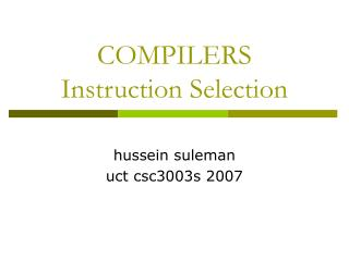 COMPILERS Instruction Selection