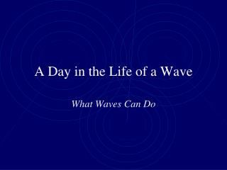 A Day in the Life of a Wave