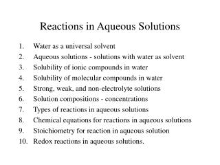 Reactions in Aqueous Solutions