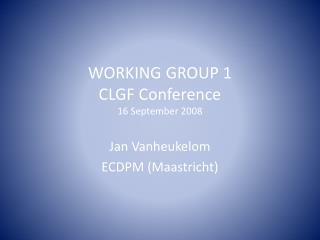 WORKING GROUP 1 CLGF Conference 16 September 2008