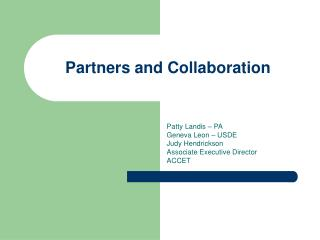 Partners and Collaboration