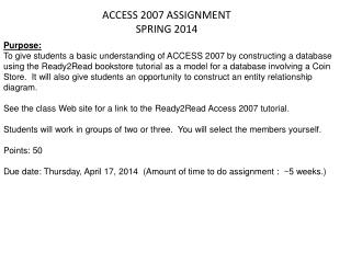 ACCESS 2007 ASSIGNMENT SPRING 2014
