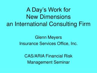 A Day's Work for  New Dimensions an International Consulting Firm