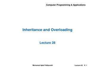 Inheritance and Overloading