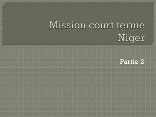 Mission court  terme Niger